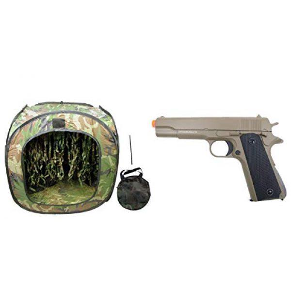 GE / JG Airsoft Pistol 1 GE / JG Full Metal 1911 Spring Powered Airsoft Pistol with Portable Airsoft BB Trap Target Tent Package (Tan)