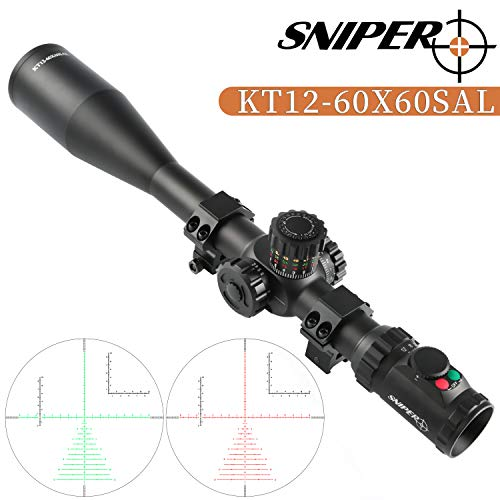 Sniper Rifle Scope 2 Sniper KT 12-60X60 SAL Rifle Scope 35mm Tube Side Parallax Adjustment Glass Etched Reticle Red Green Illuminated with Scope Rings