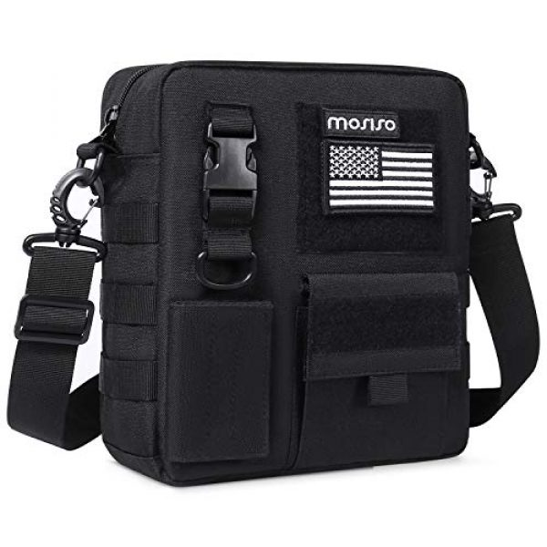 MOSISO Tactical Backpack 1 MOSISO Tactical Messenger Backpack Bag, Small Crossbody Tactical Shoulder Bag Water Repellent Casual Sturdy Molle Backpack Pouch Bags for Men Sport Outdoor Hunting Hiking with USA Flag, Black