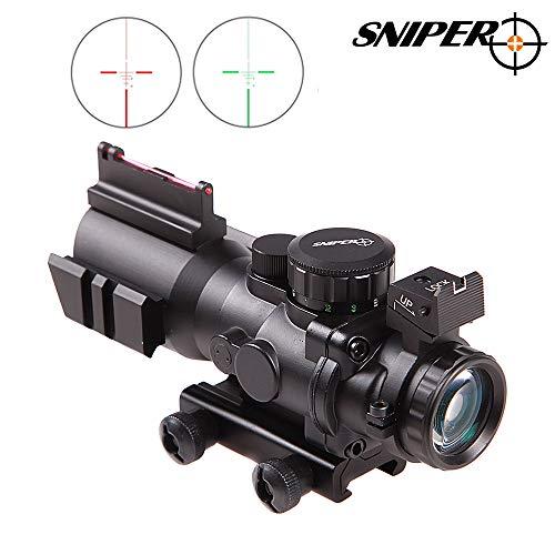 Sniper Rifle Scope 5 Sniper Prism Scope 4X 32mm Red/Green/Blue Illuminated Reticle