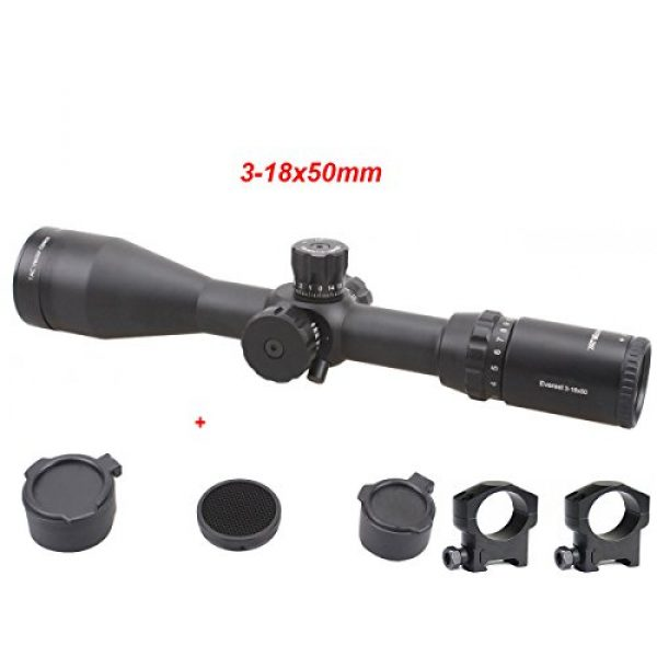 Vector Optics Rifle Scope 3 Vector Optics Everest 3-18x50mm Gen II 1/4 MOA Tactical Riflescope with Long Eye Rilief, Free 30mm Mount Rings, Free Honeycomb Sunshade and Free Flip-up Lens Cover (Matte Black)