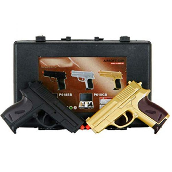 MilSim Airsoft Pistol 2 Twin Spring Dual Airsoft Pistol Combo Pack Set Hand Gun w/Case 6mm BB BBS