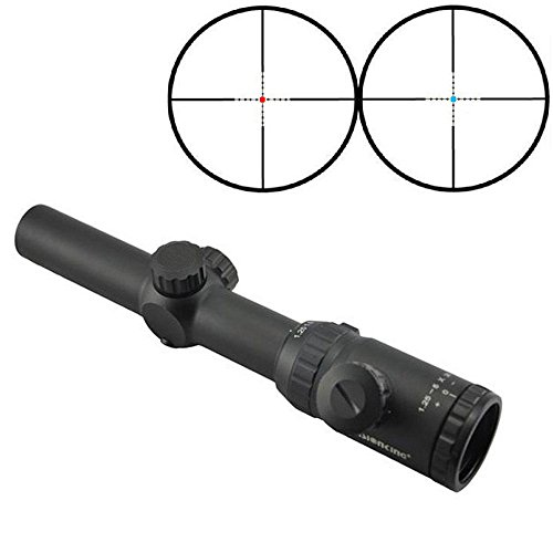 Visionking Rifle Scope 1 Visionking Rifle Scope 1.25-5x26 Red and Blue Illuminated Mil-dot Riflescope IR Hunting Riflescopes for Color Black