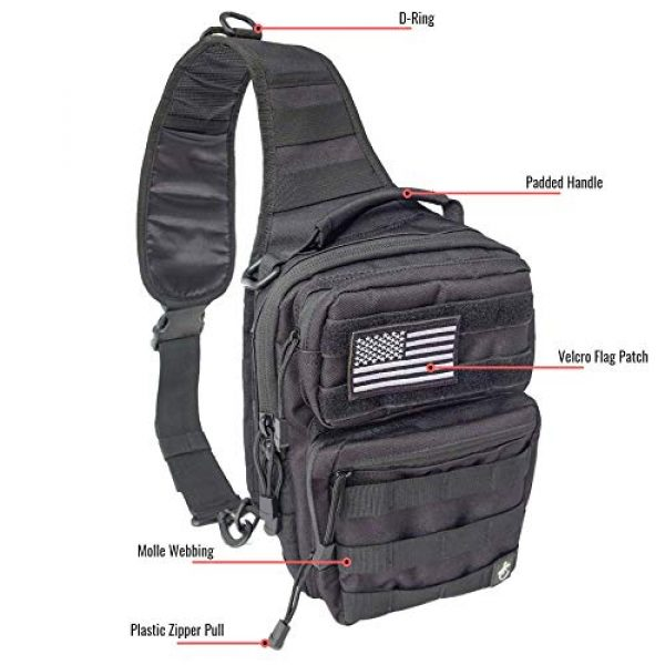 Gecko Equipments Tactical Backpack 2 Gecko Tactical Sling Backpack, Small Military Bag, Free American Flag Patch & Bottle Opener. Molle shooting range shoulder bag.