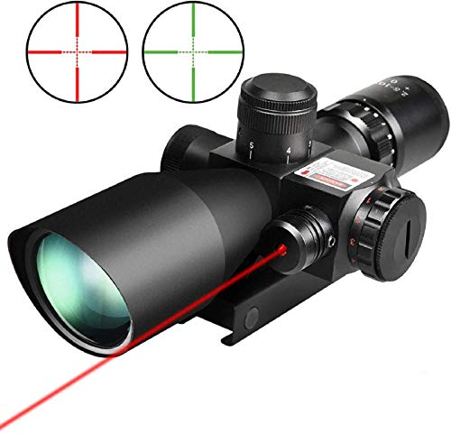 QILU Rifle Scope 2 QILU Rifle scope 2.5-10x40 Dual illuminated Mil-dot Gun scopes scope Compact Red and Green illuminated Optical scope,with Red Laser