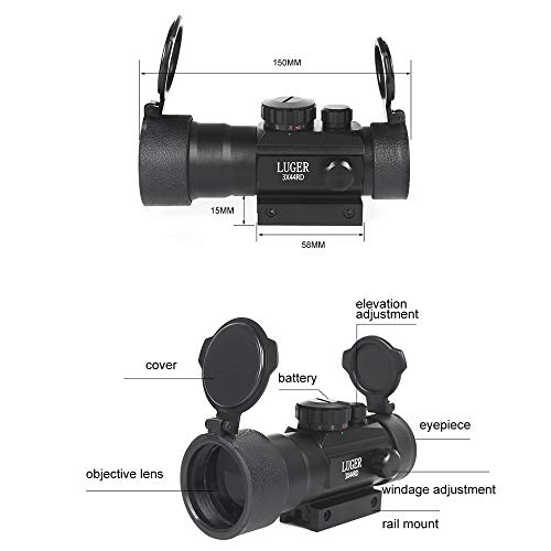 Luger Rifle Scope 2 Luger Tactical 3X44 Red Green Dot Sight Rifle Scope for 11mm/20mm Rail Mount