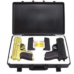 MilSim Airsoft Pistol 1 Twin Spring Dual Airsoft Pistol Combo Pack Set Hand Gun w/Case 6mm BB BBS