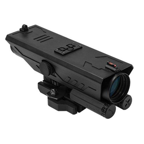 M1Surplus Rifle Scope 1 M1SURPLUS VISM Delta Model 4x30 Tactical Ops Scope with Integral Quick Detach Mount + White & Red Navigation LED Lights + Back-Up Fiberoptic Iron Sights/Fits Weaver Picatinny Mounts