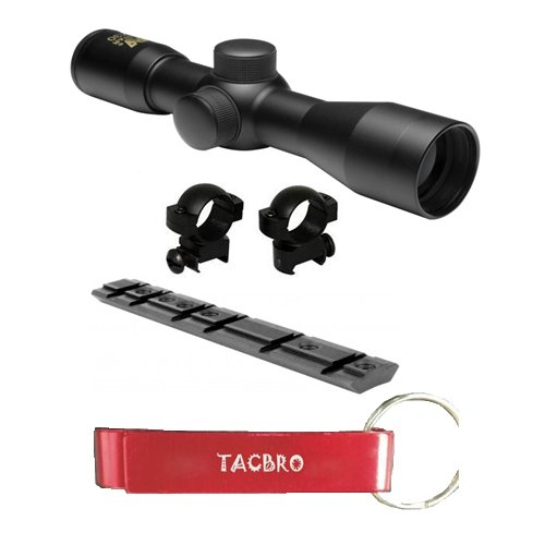TACBRO Rifle Scope 1 TACBRO Ruger 10/22 Black (Blued) 4x30 Rifle Scope w/ Free Mount & Rings with one free TACBRO opener(Randomly Selected color)
