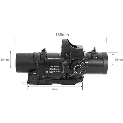 TTHU Rifle Scope 2 TTHU Rifle Scope 4X Fixed Dual Purpose Scope with Mini Red Dot Scope Red Dot Sight for Rifle Hunting Shooting