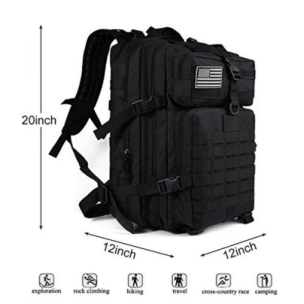 Heran Tactical Backpack 4 Tactical Backpack 45L Army 3 Day Assault Pack Molle For Bag Heavy Duty Black