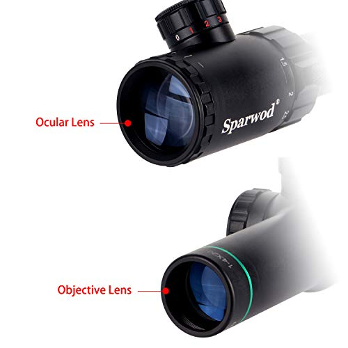 Sparwod Rifle Scope 2 Sparwod 1-4X20mm Rifle Scope,Mid-Range Red/Green Crosshair Shockproof Riflescope with Flip Up Lens Covers and High Profile Scope Rings