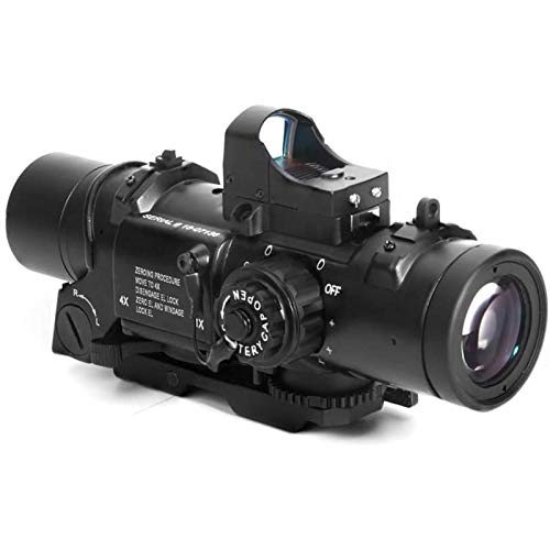 TTHU Rifle Scope 1 TTHU Rifle Scope 4X Fixed Dual Purpose Scope with Mini Red Dot Scope Red Dot Sight for Rifle Hunting Shooting