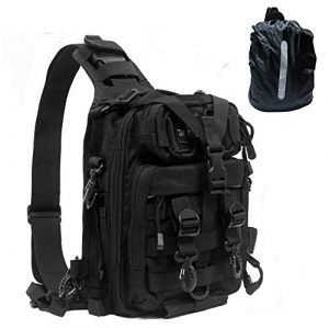 TAK YIYING Tactical Backpack 1 Tactical Sling Backpack Waterproof Shoulder Bag With Waterproof Rainproof Backpack Pack Cover (Black)