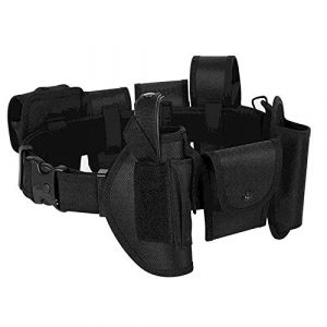 HAITRAL Tactical Belt 1 HAITRAL 10 in 1 Tactical Duty Belt, Modular Equipment System Security Military Tactical Duty Utility Belt, Black Belt for Law Enforcement Guard Security Hunting