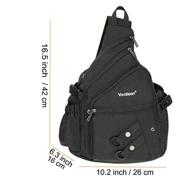 Vanlison Tactical Backpack 4 Vanlison Sling Backpacks, Sling Chest Bags Shoulder Crossbody Bags for Men Women Outdoor Travel Walking Dog Running