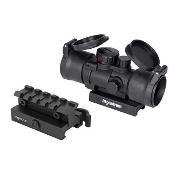 Monstrum Rifle Scope 1 Monstrum S330P 3X Prism Scope | RM5-AH Adjustable Height Riser Mount with Quick Release | Monstrum Flip Up Lens Cover Set | Bundle