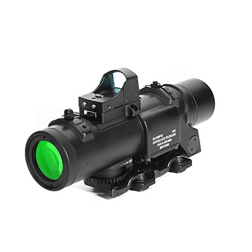 Luger Rifle Scope 1 Luger Tactical 1x-4x Magnification Optic Fixed Dual Purpose Scope Combo with Mini Red Dot Sight Wide Angle for Rifle Hunting Shooting
