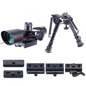 Pinty Rifle Scope 1 Pinty 2.5-10x40 Red Green Illuminated Mil-dot Tactical Rifle Scope with Red Laser Combo & Rifle Bipod with 6 inch to 9 inch Adjustable Legs, Works with Rifle Slings and Picatinny MLOK KeyMod and QD Mo