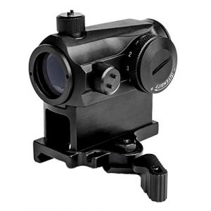 UELEGANS Rifle Scope 1 UELEGANS Tactical 2 MOA Red Dot Sight 1x24mm 10 Brightness Airsoft Sight Scope 20mm Rail Mount for Hunting and Shooting