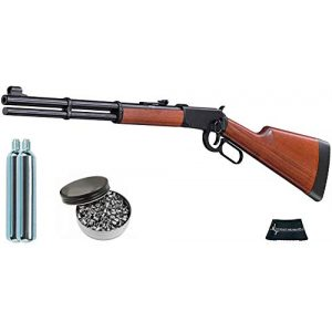 Walther Air Rifle 1 Walther Lever Action CO2 .177 Caliber Air Rifle with Included CO2 90 Gram (2 Pack) and Pack of 500 Pellets Bundle (Pellets Caliber/Weight .177/7.48 Grains) and Wearable4U Cloth
