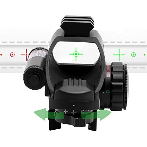 BESTSCOPE Rifle Scope 5 BSESTSCOPE Red Dot 1x22x33Reflex Sight Red and Green 4 Reticle Dot Sight(3MOA) with Red Laser(Laser Class:)