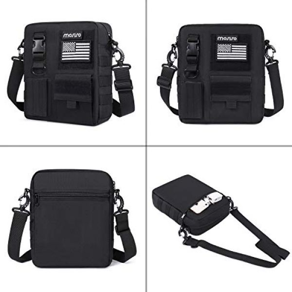 MOSISO Tactical Backpack 4 MOSISO Tactical Messenger Backpack Bag, Small Crossbody Tactical Shoulder Bag Water Repellent Casual Sturdy Molle Backpack Pouch Bags for Men Sport Outdoor Hunting Hiking with USA Flag, Black