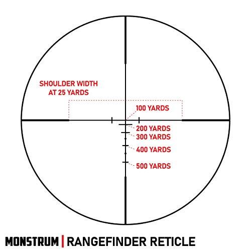 Monstrum Rifle Scope 4 Monstrum 3-9x32 AO Rifle Scope with Illuminated Range Finder Reticle and Parallax Adjustment | Monstrum Flip Up Scope Cover Set | Bundle
