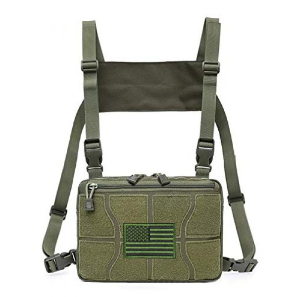 Jadedragon Tactical Backpack 1 Tactical Chest Front Bag Pouch Harness Bag Multipurpose Concealed EDC Carry Pouch Sport Backpack Daypack Tactical Chest Rig for Hiking,Bicycling,Motorcycle Riding,Fishing (Green)