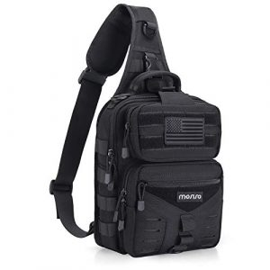 MOSISO Tactical Backpack 1 MOSISO Tactical Backpack, One Shoulder Slingbag Military Army Assault Molle Rucksack Everyday Carrying Daypack with USA Flag Patch for Outdoor Sports Hiking Hunting Fishing Camping Training, Black