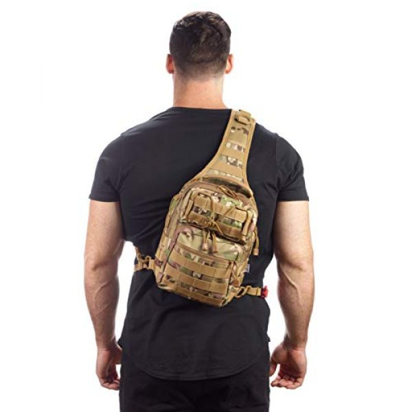 EverTac Tactical Backpack 4 Small Tactical Shoulder Sling Pack w/Molle EDC (CP MultiCam)