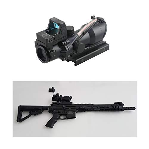 AJDGL Rifle Scope 4 AJDGL Optic Scope 4x32 Scope True Fiber Red Illuminated Crosshair Reticle Scopes with 20mm Rail Mount Holographic Sight