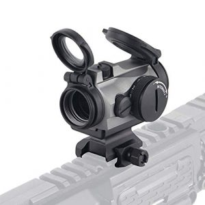 UELEGANS Rifle Scope 1 UELEGANS Outdoor Hunting 1X24 red Green dot Sight red dot Sight Scope with Integral Picaninny-Style Base and flip-up Cover Gry