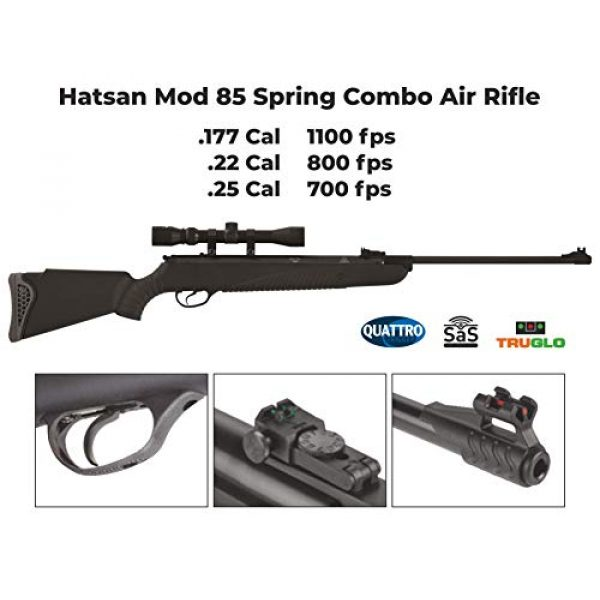 Wearable4U Air Rifle 4 Hatsan Mod 85 Spring Combo Air Rifle with Wearable4U 100x Paper Targets and Lead Pellets Bundle