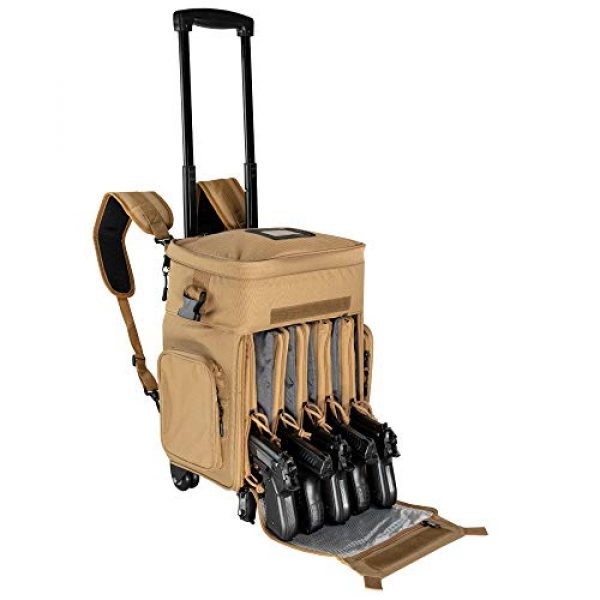 """Calissa Offshore Tackle Tactical Backpack 1 Calissa Offshore Tackle Backpack -""""Apollo 2"""" Tactical Rolling Pistol Case Gun Range Bag for Shooting Gear, Ammo, Hunting Supplies, Firearms Storage, Fishing Equipment """" 5 Pouch Compartment Organizer"""