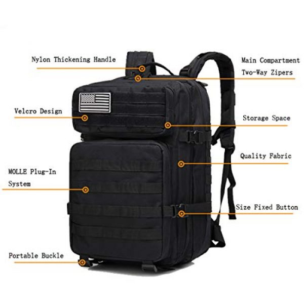 hopopower Tactical Backpack 3 hopopower Military Tactical Backpack Large Army 3 Day Assault Pack Molle Bag Backpack, 42L