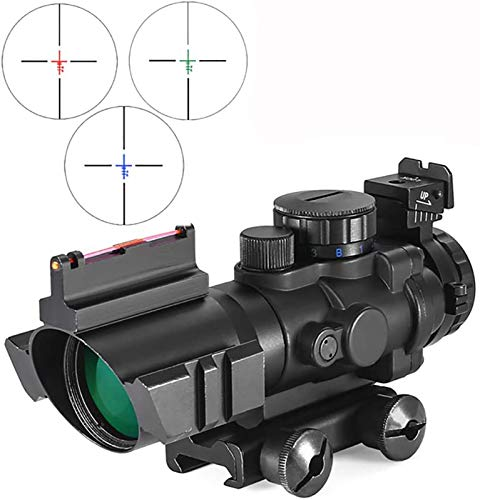 TTHU Rifle Scope 2 TTHU Rifle Scope 4X32 Tactical Rifle Scope Red & Green &Blue Illuminated Reticle Scope with Fiber Optic Sight for Hunting