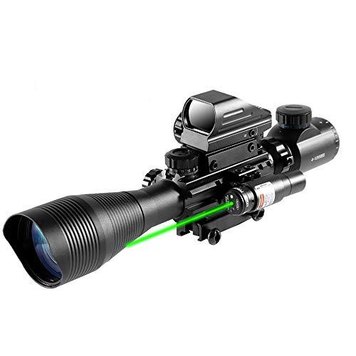 HIMIFOY Rifle Scope 1 HIMIFOY 4-12X50 EG Tactical Rifle Scope Dual Illuminated Optics & Rangefinder Illuminated Reflex Sight 4 Holographic Reticle Red/Green Dot Sight & IIIA/2MW Laser Sight(Green)