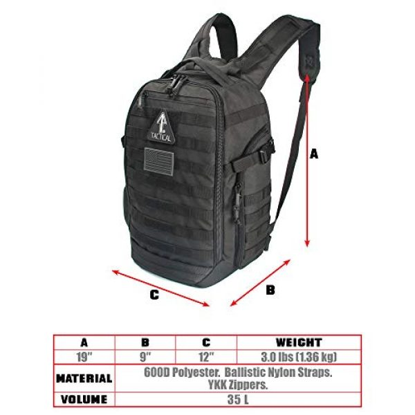 14er Tactical Tactical Backpack 5 14er Tactical Backpack   35L Rucksack, 3-Day Bug Out Bag   YKK Zippers & MOLLE