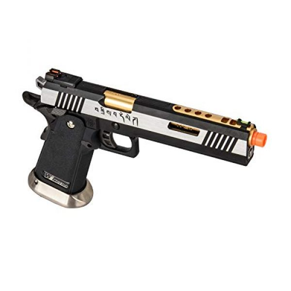 """Lancer Tactical Airsoft Pistol 4 Lancer Tactical WE-Tech Hi-Capa 6"""" IREX Full Auto Competition GBB Airsoft Pistol Black Silver Gold with Markings"""