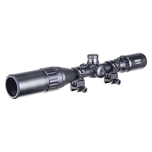Pinty Rifle Scope 3 Pinty 3-9X40 Rifle Scope AO Red Green Blue Illuminated Mil Dot with Flip-Open Covers, Sunshade Tube