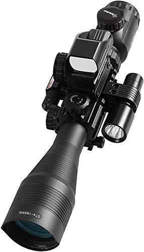 TPO Rifle Scope 6 TPO ST 4-16x50 Rifle Scope Combo Flashlight + Green Laser Sight+ 4 Holographic Reticle Red/Green Dot for Weaver/Rail Mount