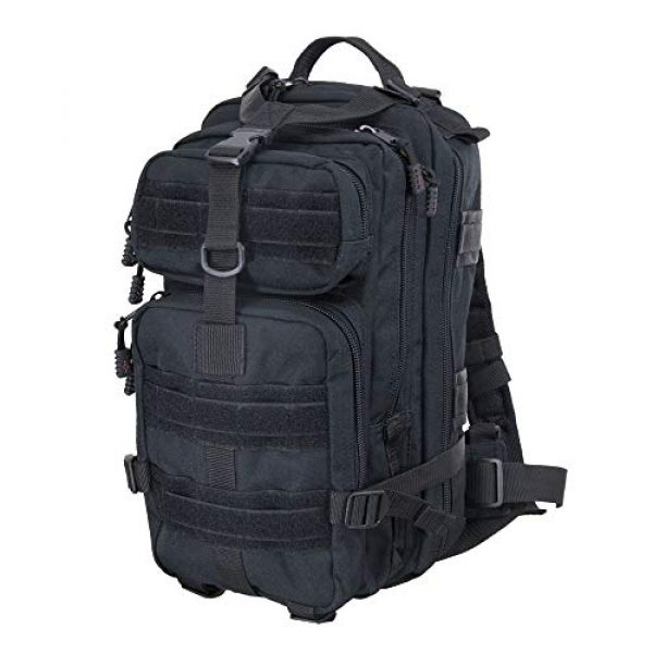 Flying Circle Tactical Backpack 1 Presidio Tactical Assault Backpack - Military Approved Compact Backpack Made of Water Resistant 900 Denier Polyester - Good from School to Combat - Features Large Center Pocket & MOLLE Webbing [Black]