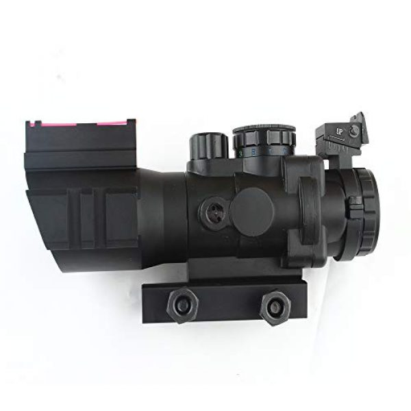 HONESTILL Rifle Scope 5 HONESTILL 4x32 Tactical Rifle Scope Red Dot Sight 20mm Dovetail Reflex Optics Scope with Fiber Optic Sight