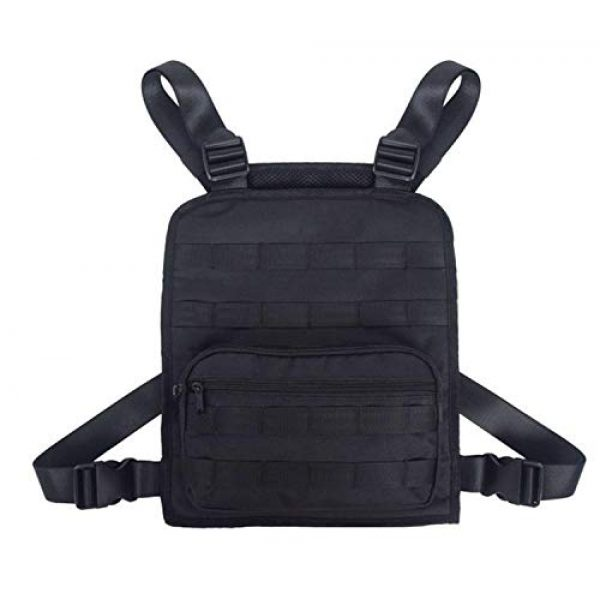 JFFCE Tactical Backpack 1 Tactical Chest Bag Pouch MOLLE Chest Panel Harness Multipurpose EDC Carry Pouch Tactical Chest Rig Black
