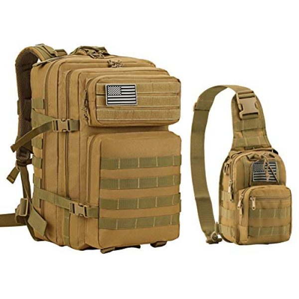 Luckin Packin Tactical Backpack 1 Luckin Packin Tactical Backpack,Military Backpack 45L with Tactical Sling Bag Khaki