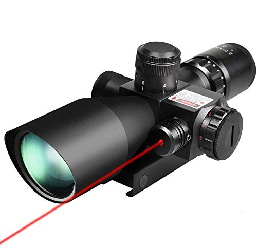 QILU Rifle Scope 1 QILU 2.5-10x40e Red & Green Illuminated Scope, Red Dot Scope Airsoft Scope Reflex Sight Gun Sights with Red Laser & 20mm Mounts
