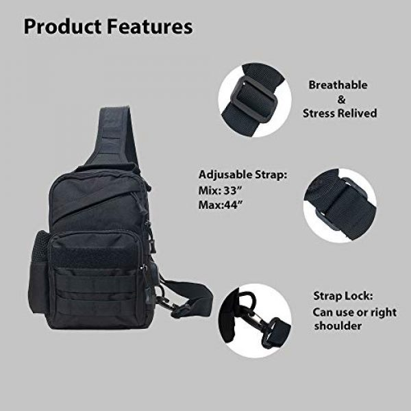 Ousawig Tactical Backpack 3 Ousawig Tactical Small Sling Backpack Chest Shoulder Bag Molle Daypack with USB Charging for Men Outdoor Cycling Hiking Camping