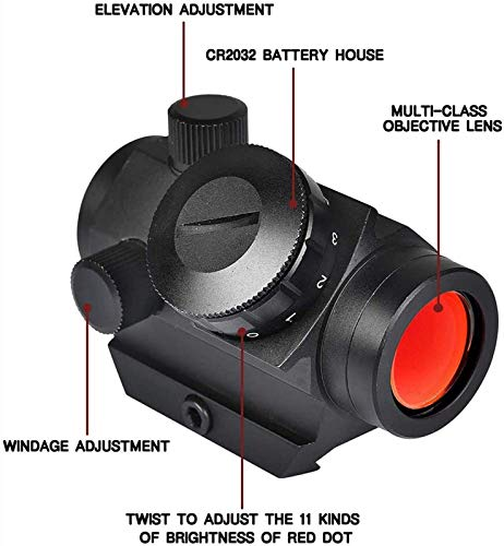 TTHU Rifle Scope 4 TTHU Mini Rifle Scopes Micro Red Dot Sight 1X25mm Reflex Sight Waterproof & Shockproof & Fog-Proof Red Dot Scope with 1 Inch Riser Mount