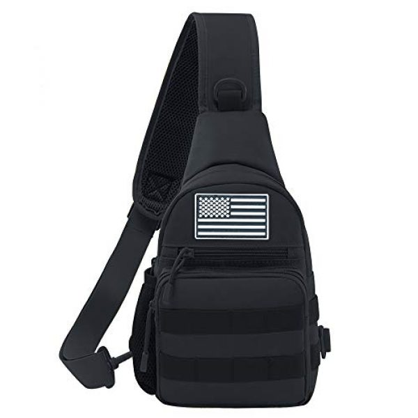 Jueachy Tactical Backpack 1 Tactical Sling Bag Military Shoulder Molle Chest Pack Shoulder Sling Backpack with USA Flag Patch